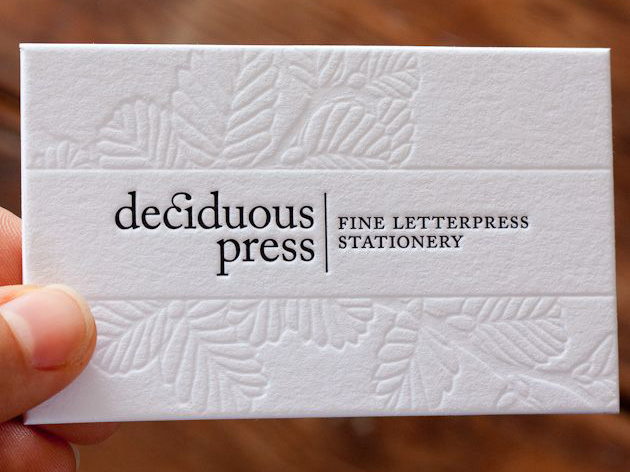 Specialty printing processes juno creative graphic design letterpress one colour with blank emboss reheart Choice Image